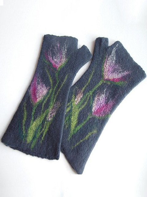 Navy Blue Floral Casual Paneled Gloves & Mittens