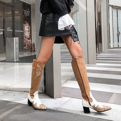 Winter Artificial Leather Chunky Heel Fashion Style Long Boots