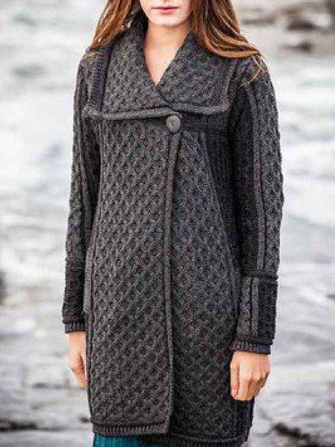 Gray Lapel Long Sleeve Pockets Cotton-Blend Outerwear