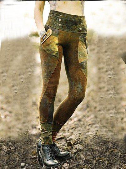 Five colors Plain Cotton-Blend Pants