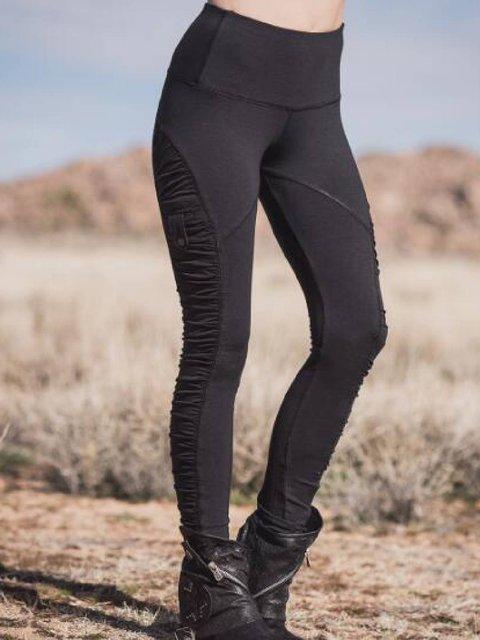 Black Cotton-Blend Casual Pants