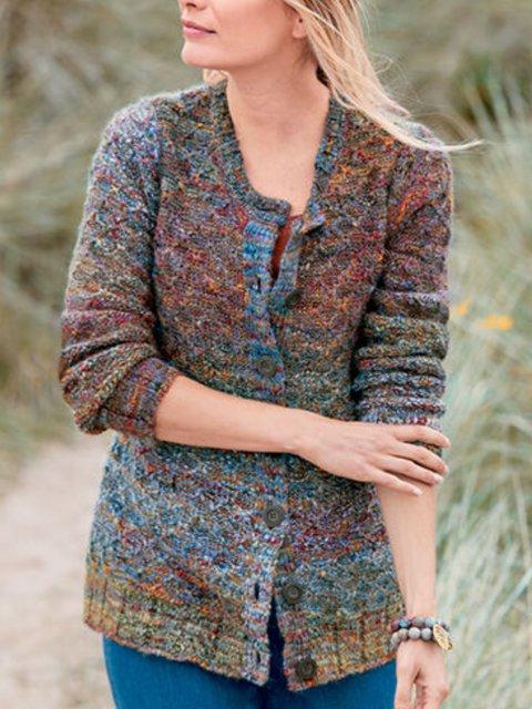 Multicolor Solid Shift Casual Sweater