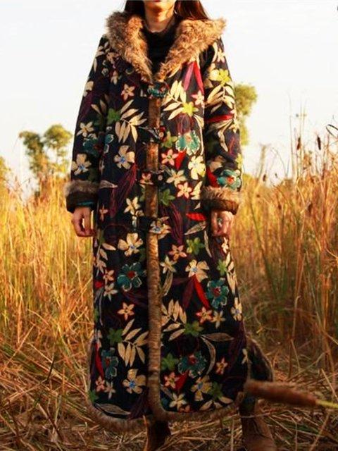 Plus Size Faux Fur Floral Vintage Outerwear