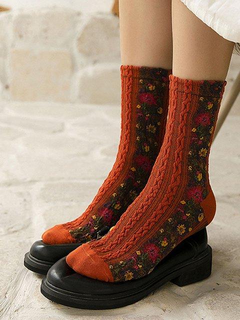 Womne's Cute Flower All Season Socks