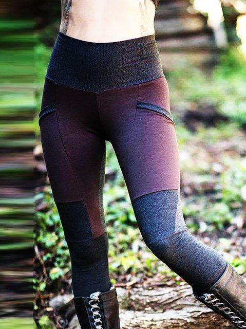 Retro Plain Color-Block Sheath Pants