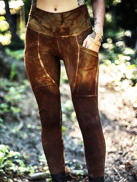 Boho Printed Sheath Ombre/tie-Dye Pants