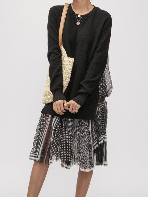 Long Sleeve Knitted Vintage Dresses