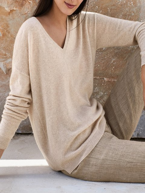 Casual Solid plus size Sweater