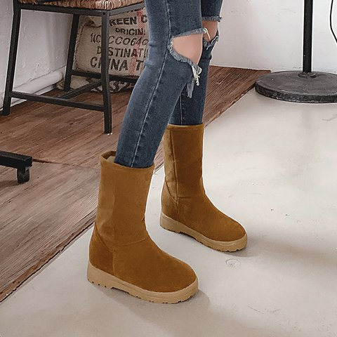 Classic Flat Heel Solid Daily Boots