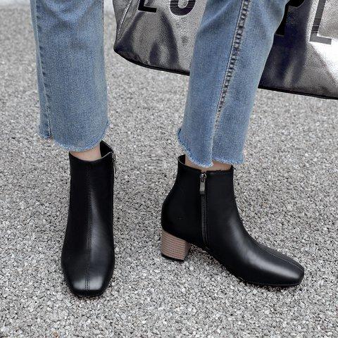 Women Plus Size Casual Block Heel Pu Boots