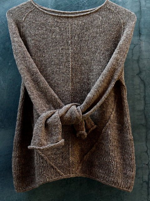 Solid Casual Shift Knitted Sweater