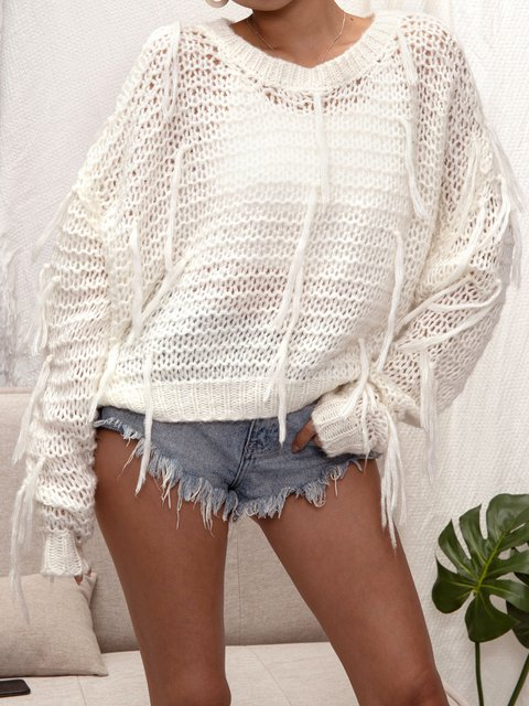 Knitted Fringed Casual Crew Neck Sweater