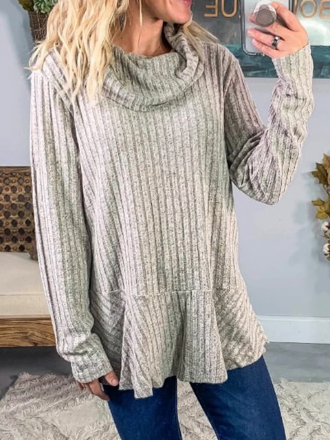 Cotton-Blend Long Sleeve Casual Cowl Neck Sweater