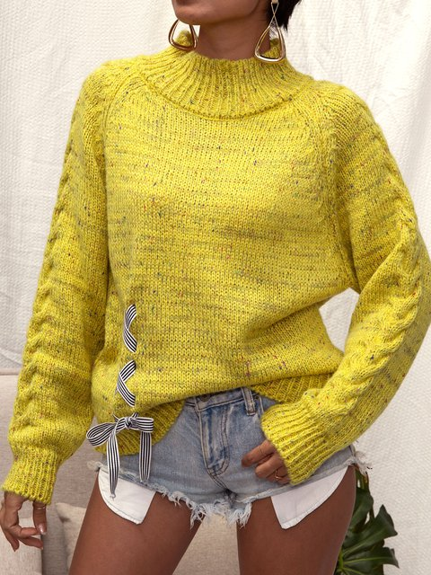 Yellow Knitted Shirts & Tops