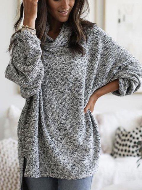 Plain Long Sleeve Casual Sweater