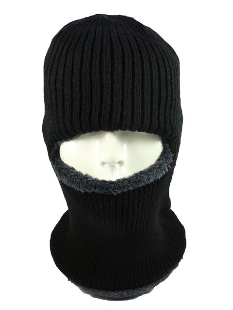 Unisex Knitted Neck Warmers Winter Scarf Fur Lined Hats
