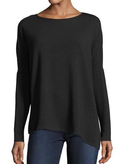 Black Round Neck Long Sleeve Shirts & Tops