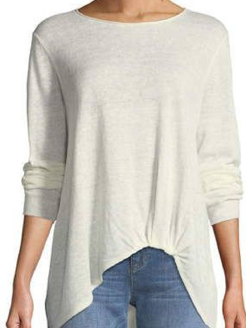 Round Neck Casual Solid Cotton-Blend Shirts & Tops
