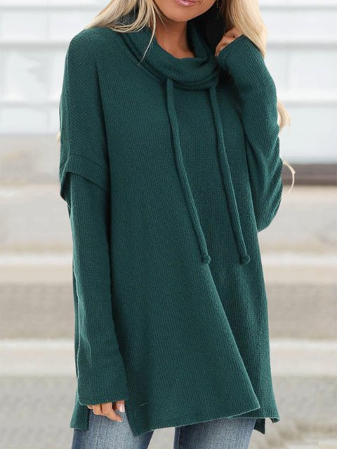 Plus Size Solid Blouses Cowl Neck Long Sleeve Tops