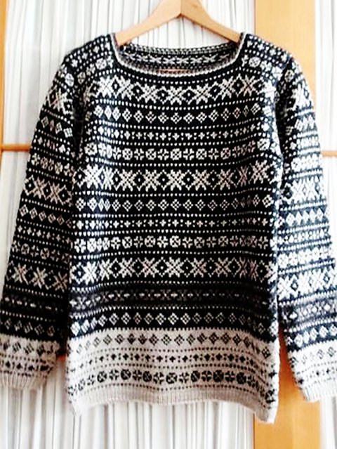 Knitted Crew Neck Retro Shirts & Tops