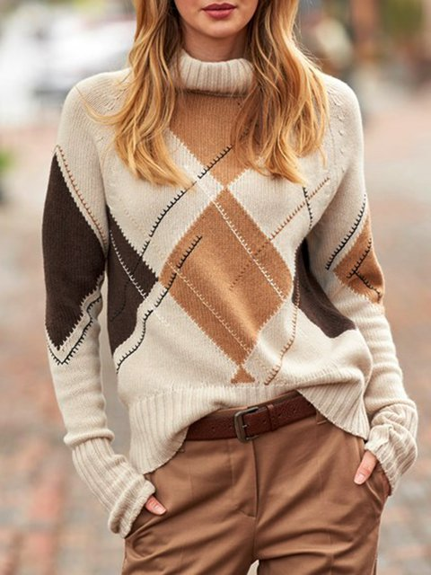 Beige Cotton-Blend Geometric Long Sleeve Sweater