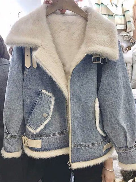 Autumn Plus Size Outwear Denim Faux Fur Long Sleeve Jacket