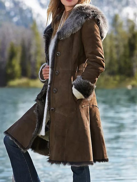 Brown Pockets Vintage Faux Suede Solid Outerwear