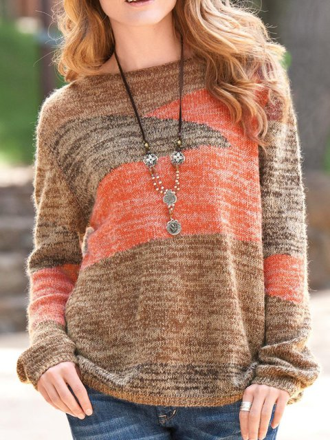 Brown Cotton Crew Neck Long Sleeve Plus Size Sweater