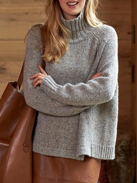 Grey Knitted Turtleneck Casual plus size Sweater