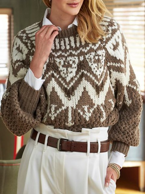 Coffee Casual Long Sleeve plus size Sweater