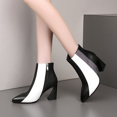 Genuine Leather Color Block Pointed Toe Ankle Boots