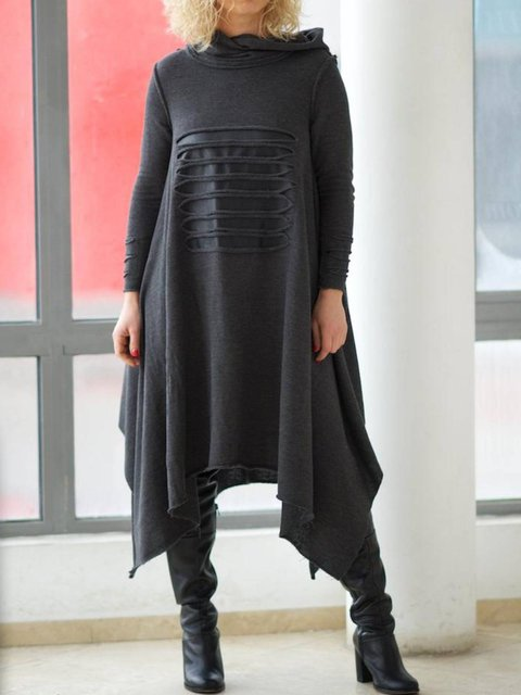 Hoodie Long Sleeve Cotton Dresses