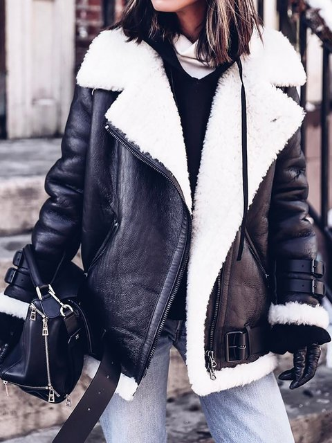 Furry Buckle Lapel Collar Faux Fur Jacket Plus Size Warm Coat Outerwear
