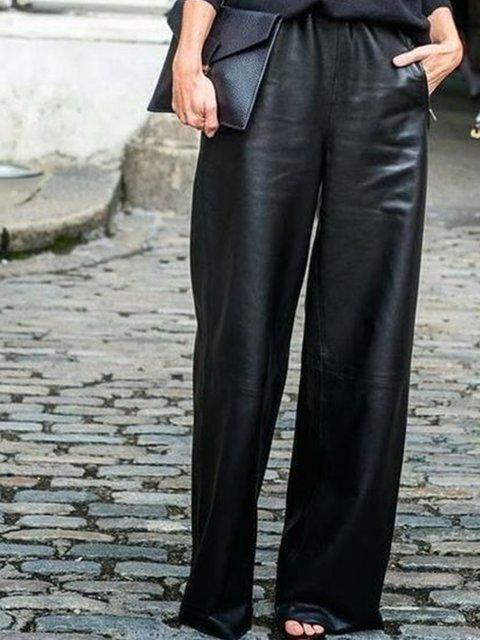 Black Faux Leather Shift Casual Pants