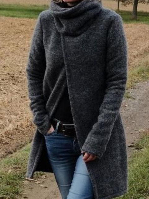 Long Sleeve Casual Solid Turtleneck Tops