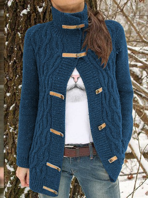 Women Buttoned Solid Vintage Sweater Cardigans