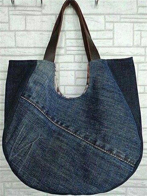 Casual Blue Denim Street Style Simple Shoulder Bag