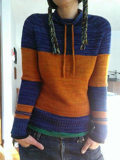 Women Color-Block Drawstring Necklline Vintage Winter Tops