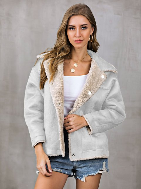 Buttoned Casual Long Sleeve Outerwear