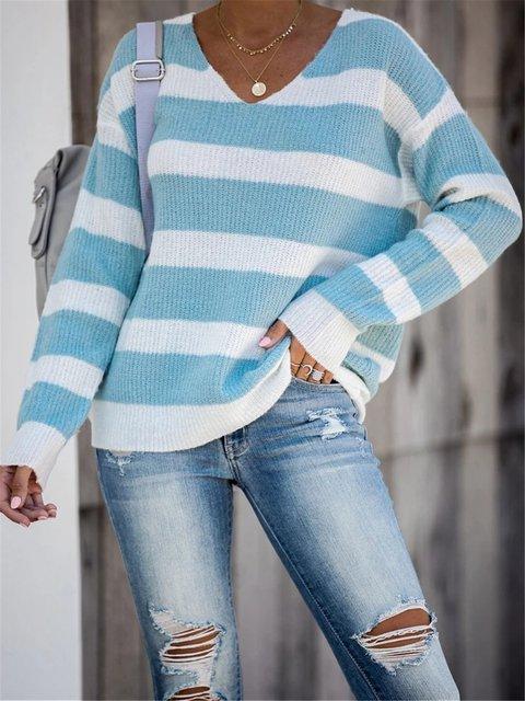 V Neck Knitted Long Sleeve Stripes Sweater