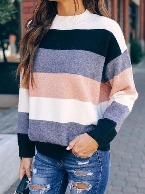 Blue Color-Block Casual plus size Sweater