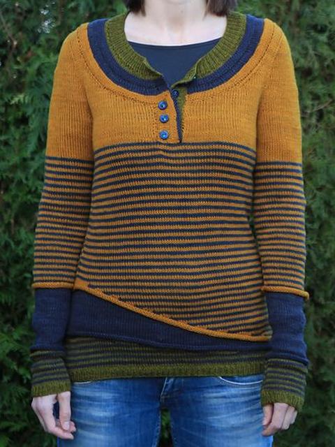 Yellow Striped Long Sleeve Sweater