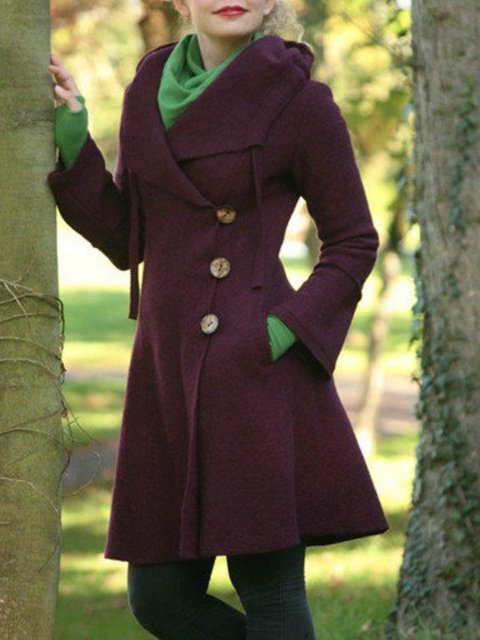 Wine Red Buttoned Long Sleeve plus size Outerwear