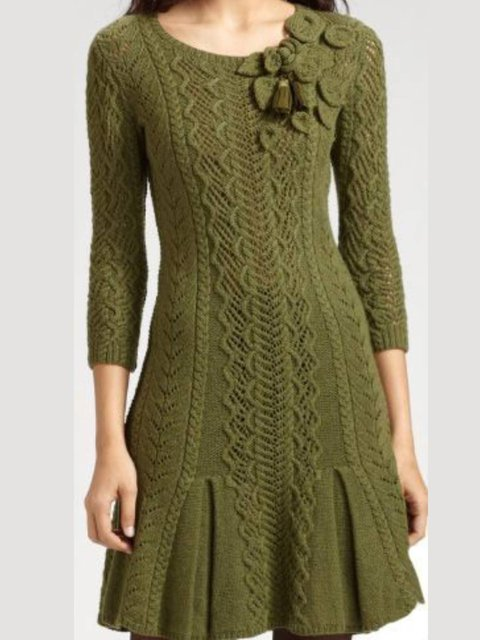 Army Green Plain Sheath Vintage Knitted Dresses