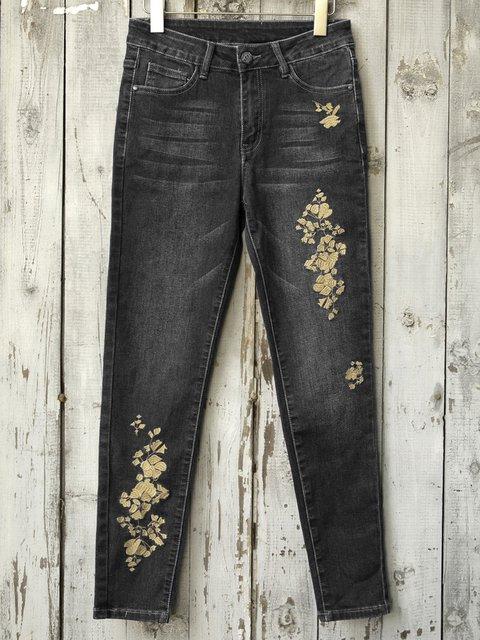 Casual Floral Denim Pants