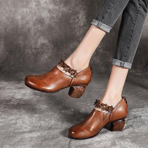 All Season Genuine Leather Chunky Heel Single Shoes