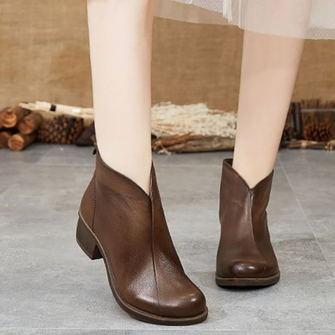 Daily Split Joint Chunky Heel Fall Boots