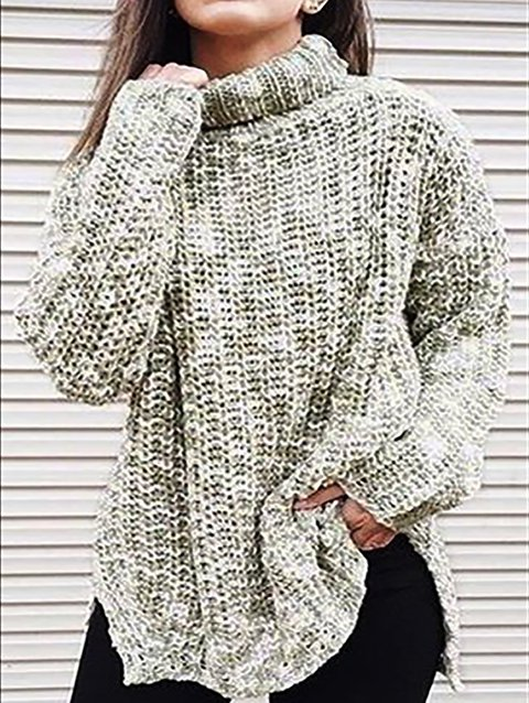 Knitted Turtleneck Long Sleeve Sweater