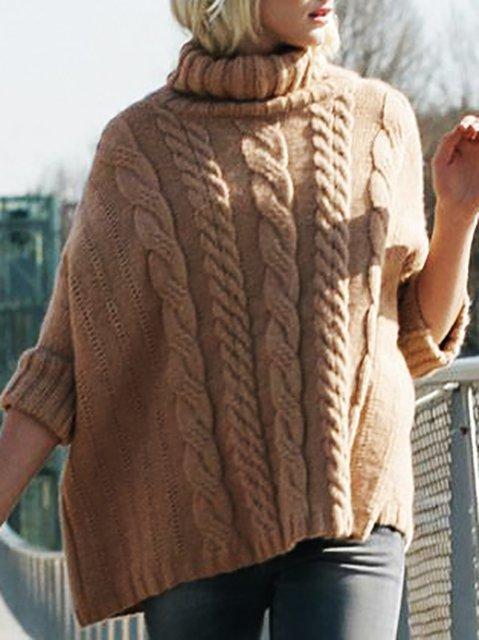 Turtleneck Knitted Long Sleeve Plain Sweater