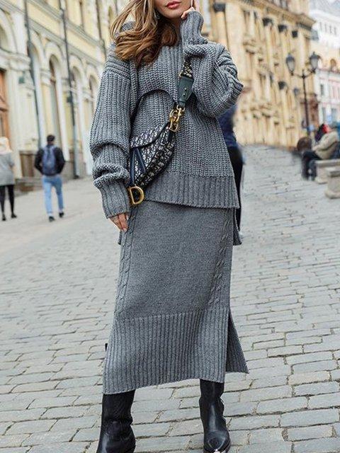 Plus Size Plain Long Sleeve Casual Sweater Suits